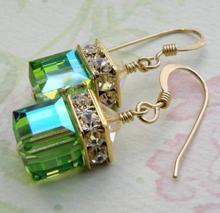 Retro-drilled Stud Earring Antique Stone Green Cubic Olivine Earrings For Women Gift
