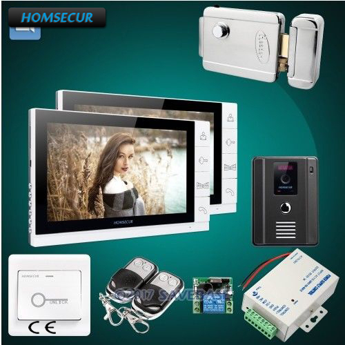 HOMSECUR Color 9 Wired Video&Audio Home Intercom Electric Lock+Keys Included 1C2M