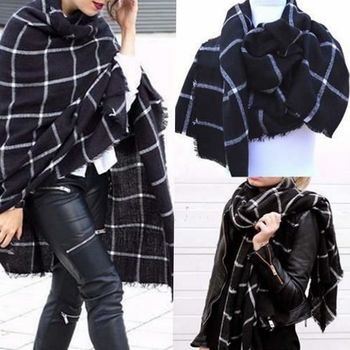 1PC 2019 195CM * 75CM New Lady Women Blanket black white Plaid Cozy Checked Tartan Scarf Wraps shawl