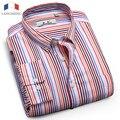Langmeng 2016 100% camisa de algodón de manga larga camisa casual hombres de marca de alta calidad a rayas camisas de vestir con estilo masculino ropa