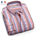 Langmeng 2016 100% cotton shirt long sleeve casual shirt men brand high quality striped dress shirts stylish male clothes