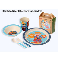 5pcs/set Baby Feeding Set with Bowl Plate Forks Spoon Cup Dinnerware Set Bamboo Fiber Children's Tableware Animal Zoo Bamboo Set