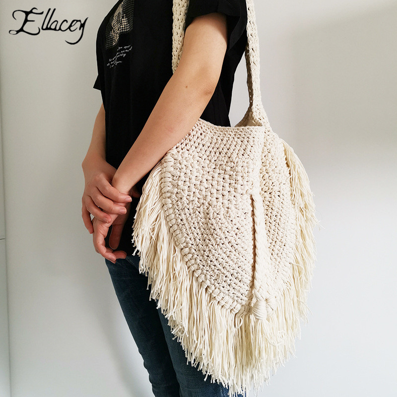 Tassel Women Straw Shoulder Bag Beach Large Handbag Tote Summer Weave Bags Capacity ladies Hand bags