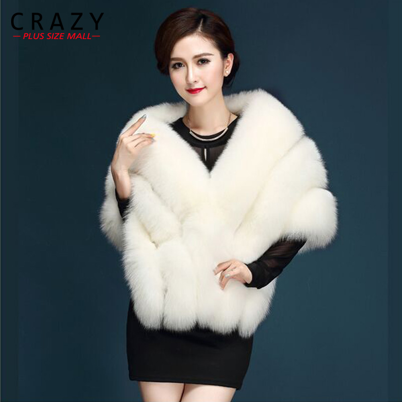 2019 Plus Size Artificial Luxury Fox Fur Imitation Mink Fur Cape poncho bridal wedding dress shawl cape