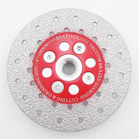 DIATOOL 1pc Premium Quality Double Sided Vacuum Brazed Diamond Cutting Grinding Disc With M14 Thread