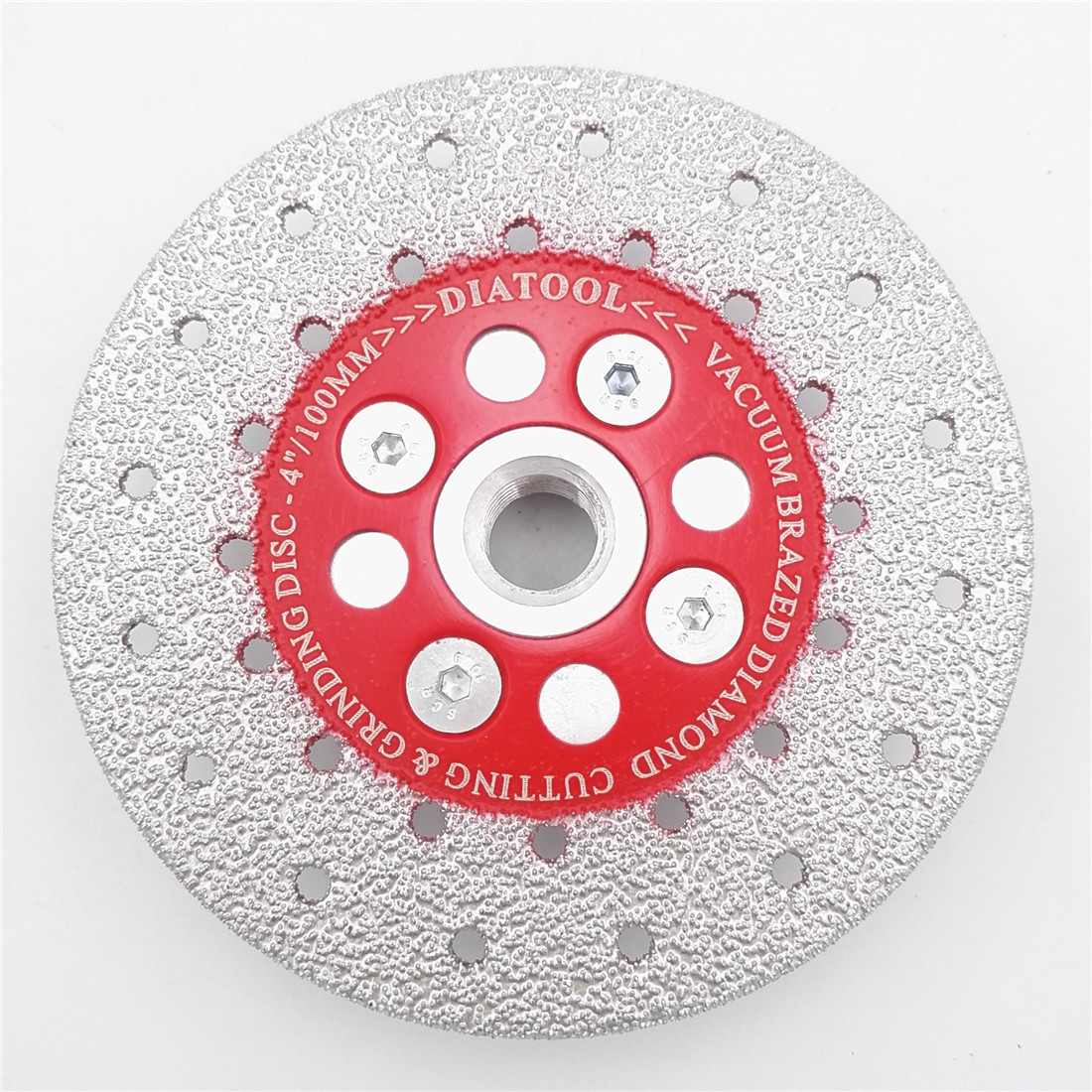 SHDIATOOL 1pc Premium Quality M14 Thread Double Sided Vacuum Brazed Diamond Cutting & Grinding Disc Sawblade Diamond Wheel