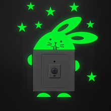 Cute Rabbit Luminous Switch Panel Stickers For Home Living Room Decoration Glow Fluorescent Vinyl In The Dark Mural Wall Decor