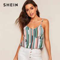 Shein colorblock listrado sem mangas cami top roupas femininas 2019 verão casual cinta de espaguete streetwear senhoras sexy topo