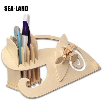 Educational Puzzle Wooden Toy For Children 3D Puzzles Pen Holder A Easy Children Toys Diy High Quality Wood Toy A Gift For Adult a toys for children 3d puzzle diy wooden puzzle motorcycle hd i a kids toys also suitable adult game gift of high quality wood
