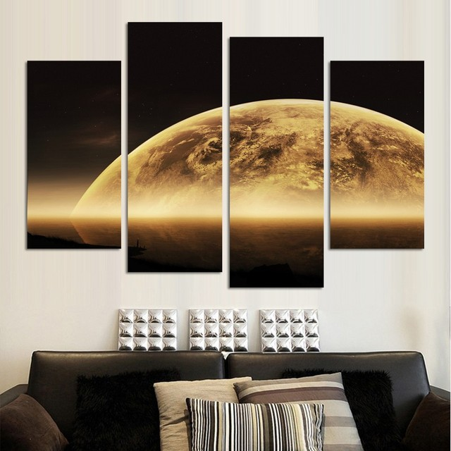 Awesome 4PCS High Quality Wall Painting Home Living Room Wall Decor Grand Moon  Skyline Space Print Oil