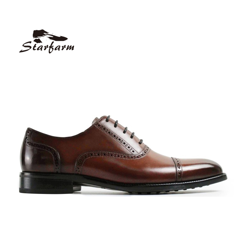 STARFARM Custom Hand Made Formal Mens Full Grain Leather Wipe Color Perforated Blue Jacinth Oxford Point Toe Dress Shoes Luxury choudory summer dress crocodile skin shoes men breathable prom shoes full grain leather pointy mens formal shoes shoe lasts
