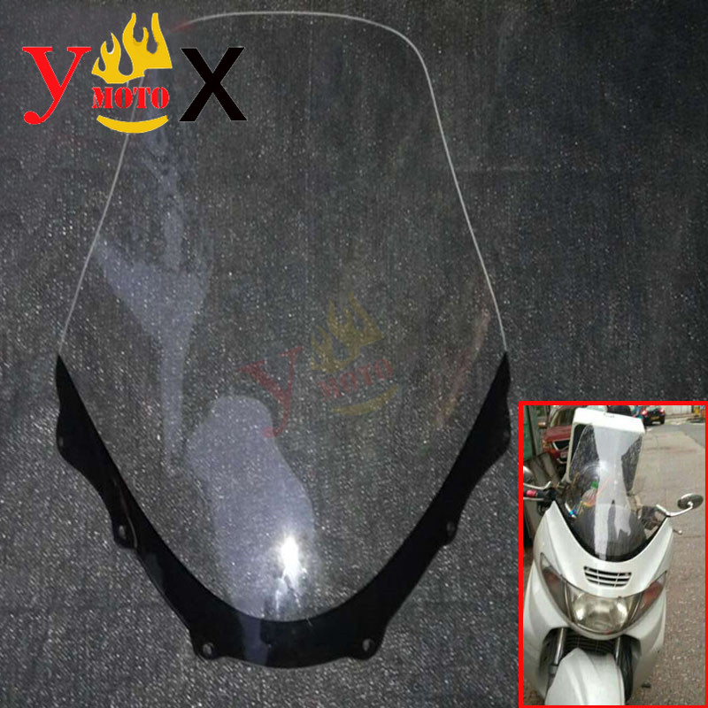 Scooter Motorcycle Clear 3MM/4MM Windshield Windscreen Deflector For Suzuki Skywave Burgman AN400 AN250 1997-2002 1998 1999 2001