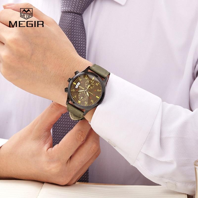 Reloj MEGIR casual impermeable para hombre 2015 relojes de cuarzo de lona  de Moda hombre calendario reloj de pulsera hombre envío gratuito 2021 en  Relojes ... 426a5d50e38e