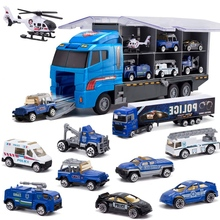 10-In-1 Police Transport Truck, Mini Die-Cast Toy Car, Loaded Car Set