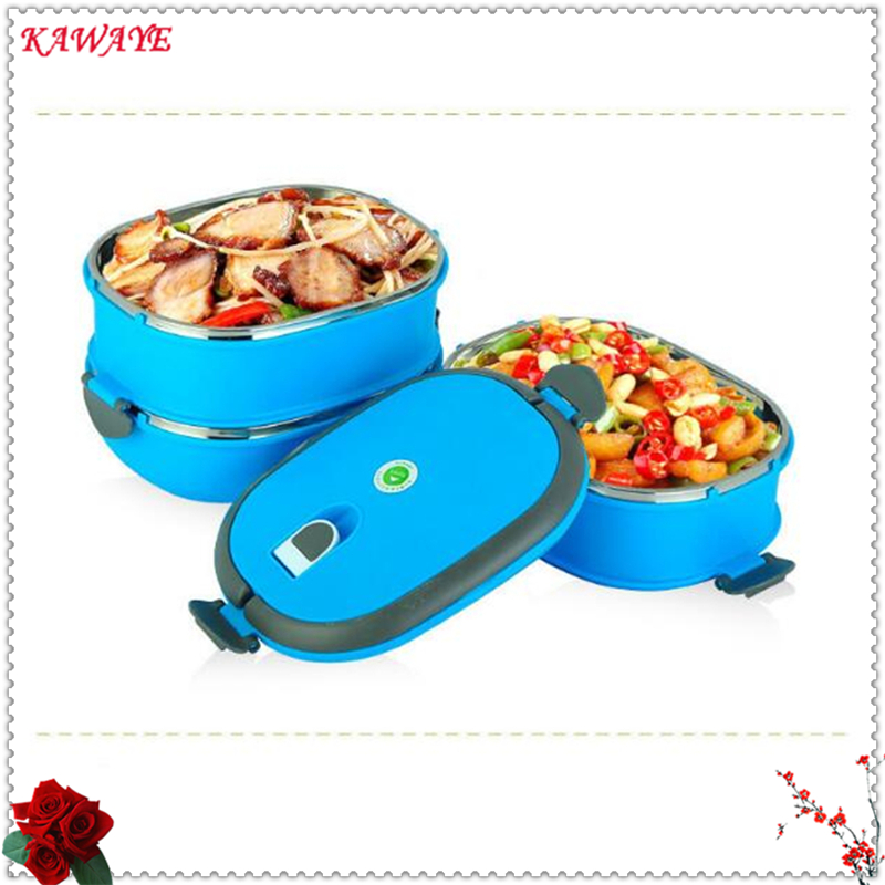 1 pièces en acier inoxydable Thermos Bento déjeuner alimentaire boîte pour enfants forme ronde portable conteneur pique-nique voyage pour l'école 5ZKC021