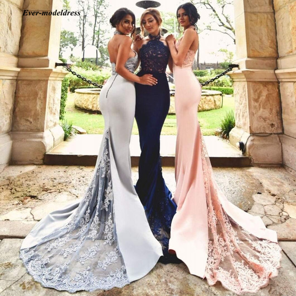 Modest Mermaid   Bridesmaid     Dresses   2019 Halter Backless Appliques Beads Long Blush Wedding Guest Party Gowns vestido longo Cheap