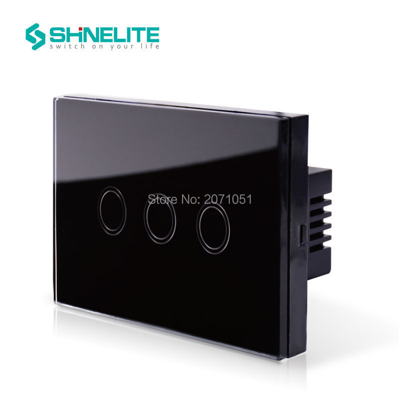 US AU Standard Touch Switch SHINELITE Black Pearl Crsytal Glass Panel 3Gangs 1Way 220V 50Hz Touch