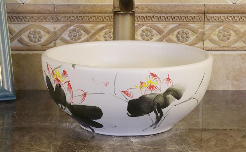US $159.42 |Mini Ceramic round Hand Painted Basin Washbasin Small Bathroom  Balcony Art Basin 30CM diameter bathroom sinks bowl-in Bathroom Sinks from  ...