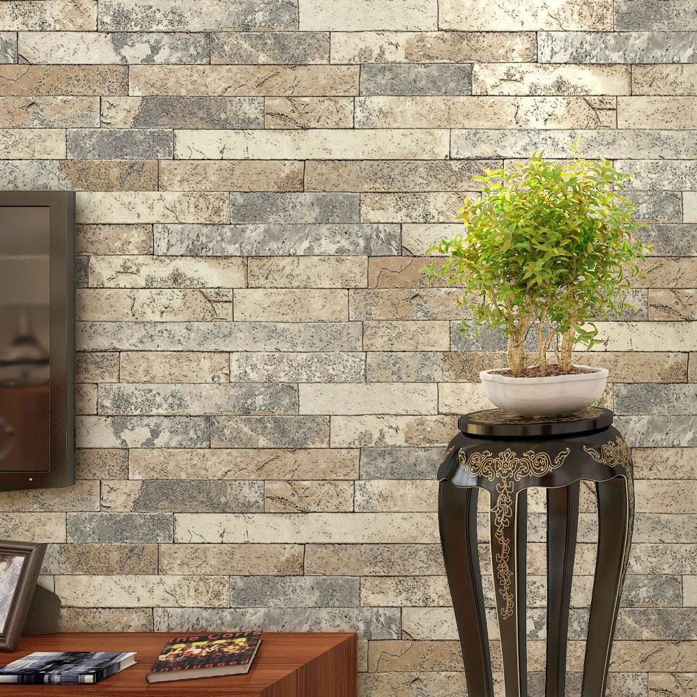 Retro Brick Wall Wallpaper For Walls 3 D Living Room Kitchen PVC Waterproof Thickened 3D Stereoscopic Stone Brick Wallpaper Roll 2 sheet pcs 3d door stickers brick wallpaper wall sticker mural poster pvc waterproof decals living room bedroom home decor