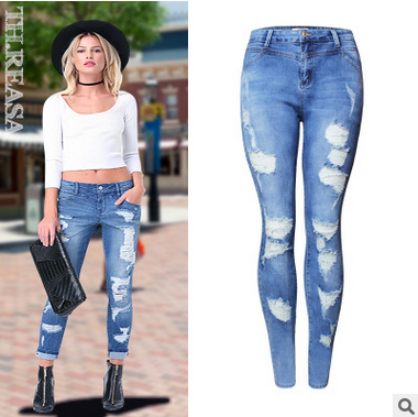 Europe and the United States women new personality hole in the waist stretch jeans women trousers pencil pants uniquefire portable led flashlight uf 1406 cree xp e zoom 3 modes w g r light rechargeable 18650 flashlight with remote pressure
