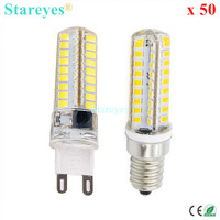 50 Pieces Silicone G9 E14 10W SMD2835 72 LED Dimmable LED Corn lamp Droplight Chandelier candle bulb Pendant light lighting