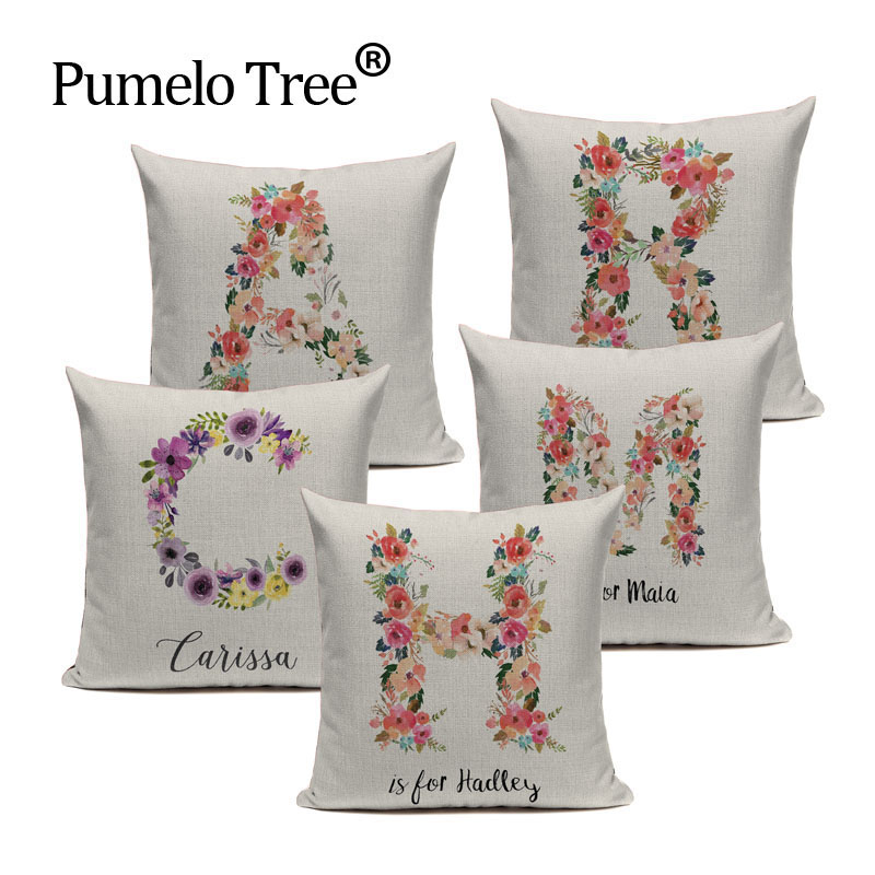 High Quality Cushion Cover Beautiful Letter Flower Cotton Linen Car Sofa Home Decor Throw Pillow 45 cm x 45 cm Pillow Case Gift