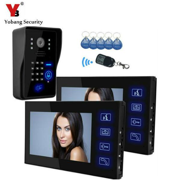 Yobang Security-7 Inch Wired Video Door Phone With RFID Keyfobs Remote Interphone Visiophone Video Citofono Wired Video Porteiro