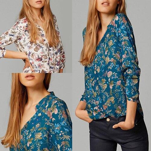font b Women s b font Vintage Style Flower Print V Neck Long Sleeve Cotton