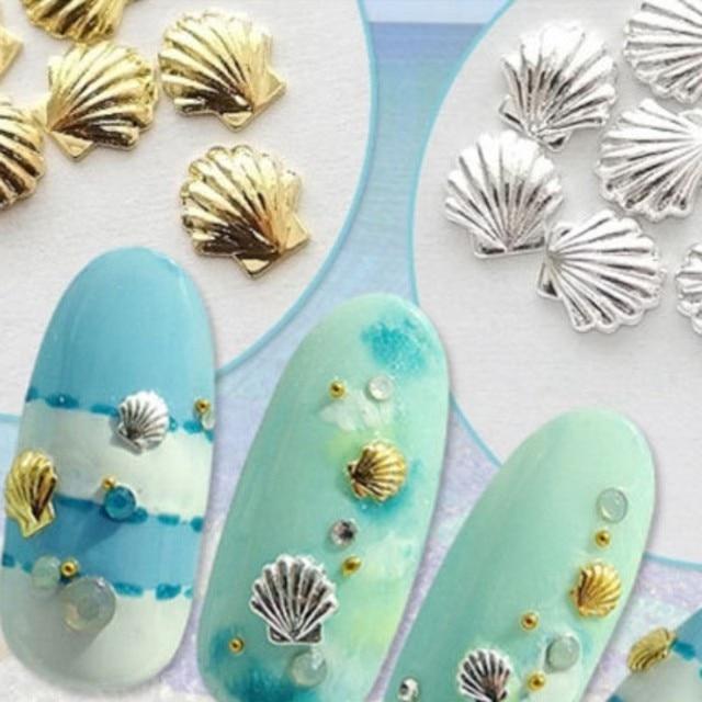 20 Unid conchas diseño oro plata aleación Nail Art decoraciones 3D ...