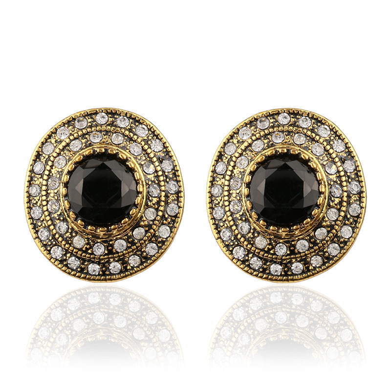 2017 New Fashion Large Crystal Stud Earrings For Women Gold Round Black Stone Indian Jewelry Wedding Party Gift In From Accessories
