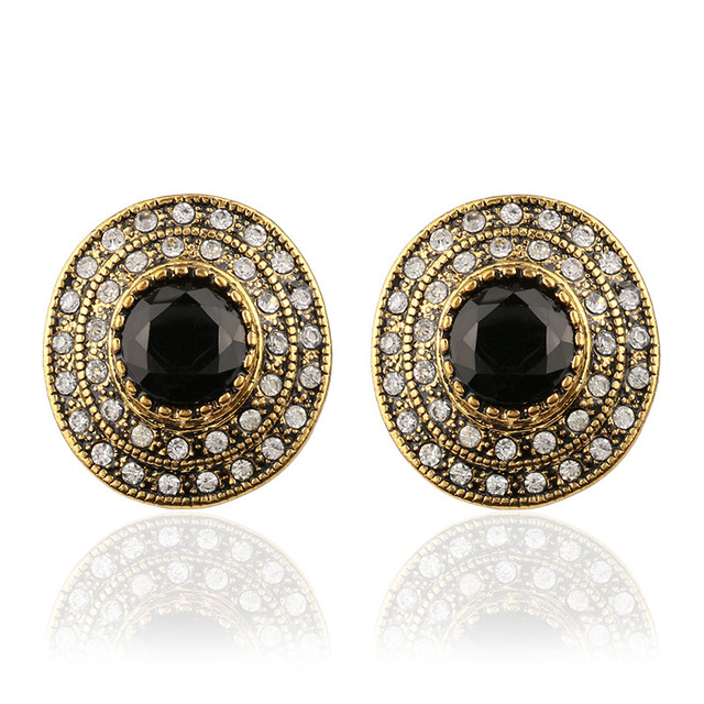 2017 New Fashion Large Crystal Stud Earrings For Women Gold Round Black Stone Indian Jewelry Wedding
