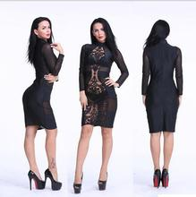 ladies women's clothing fashion Slim Skinny Bandage sheath Sexy & Club Mesh sheer hollow out Package hips pencil dresses X008