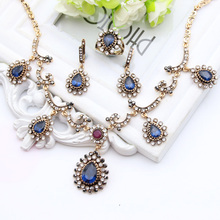Fashion Turkey women Jewelry Sets 4PCS Antique Gold Plated Earring Bracelet Ring Ruby Necklace Sets Vintage Turkish Jewelry Gift
