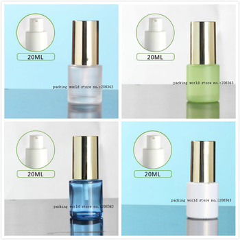 20ml frosted/green/blue/white glass bottle shiny gold lid  for serum/lotion/emulsion/foundation skin care  cosmetic packing