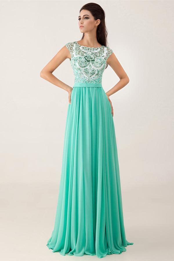 Evening dresses with lace tops