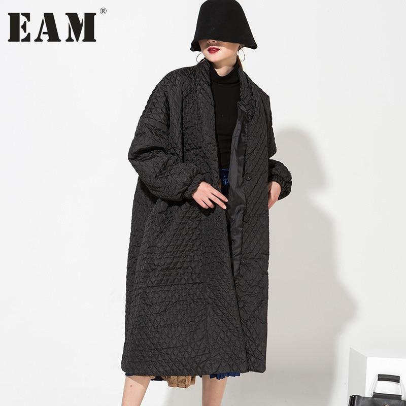 EAM 2017 hot new European Temperament Black Highest Quality Long Loose Coat very warm winter