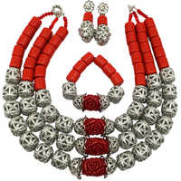 Fashion Orange Red Artificial Coral Beads Jewelry Set African Wedding Necklace Nigerian Beaded Jewelry Sets FSH 018