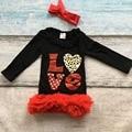 Сердце девушки платье дети день Святого Валентина платье новорожденных девочек люблю партия красное платье с рюшами девочки бутик платье с оголовьем
