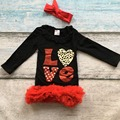 girls heart dress kids Valentines day dress baby girls love party red ruffle dress baby girls boutique dress with headband