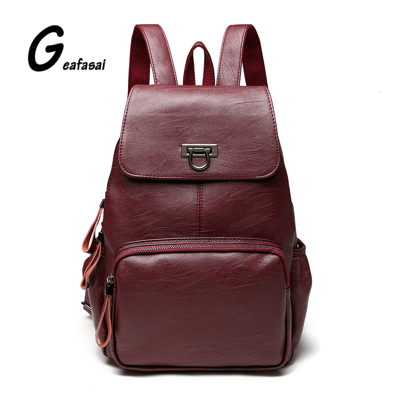 Black Color Ladies Backpack PU Leather Women Backpack Preppy Style Girls School Bag Cute Size Travel