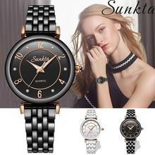 SUNKTA Women Watches Ceramic Waterproof Watch Ladies Casual Fashion Reloj Mujer Ultrathin  Sport Clock+Box