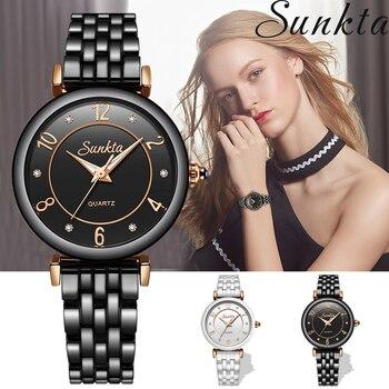 SUNKTA Women Watches Ceramic Waterproof Watch Ladies Watch Casual Fashion Ladies Watch Reloj Mujer Ultrathin  Sport Clock+Box
