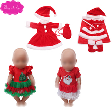 Dolls clothes Christmas red dress sweater suit skirt fit American 18 inch Girl dolls and 43 cm baby doll f43 1 set 18 american girl doll clothes and accessories white shirt and flower trousers 18 inch american girl dolls clothes ingbaby