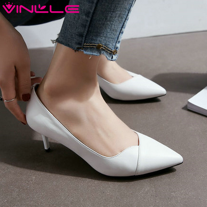 ФОТО VINLLE 2017 Women Pumps Thin High Heel Pointed Toe PU Genuine leather Sexy Simple And Fashion Style Ladies Shoes Size 34-39