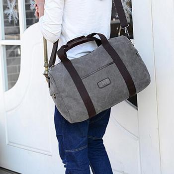 新しいキャンバスレザー男性女性旅行トートバッグ手荷物用バッグレディースダッフルバッグ旅行トートラージウィークエンドバッグ一晩Сумка