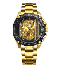 FORSINING Top Brand Luxury Automatic Mechanical Watch for Men Solid Gold Strap Skeleton Wristwatches все цены