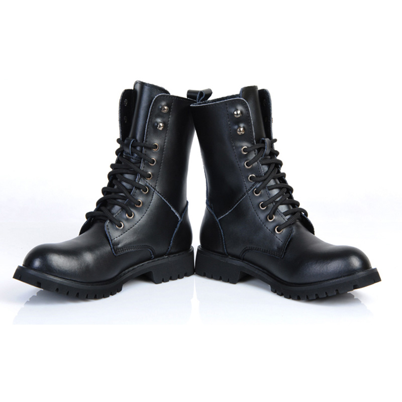 Genuine Leather Men Military Boots Men's Motorcycle Riding Hunting - Men's Shoes - Photo 4