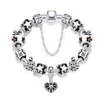 Fashion Friend Christmas Gifts Jewelry New Elegant Tree Flower Heart And Star Friendship Bracelet Silver Chain
