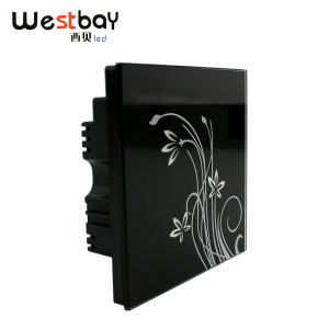 Westbay Hotel Light Touch Switch at AC110-250V,3gangs 2way Panel Wall Switches Crystal Glass Black Color Switch on/off Switch