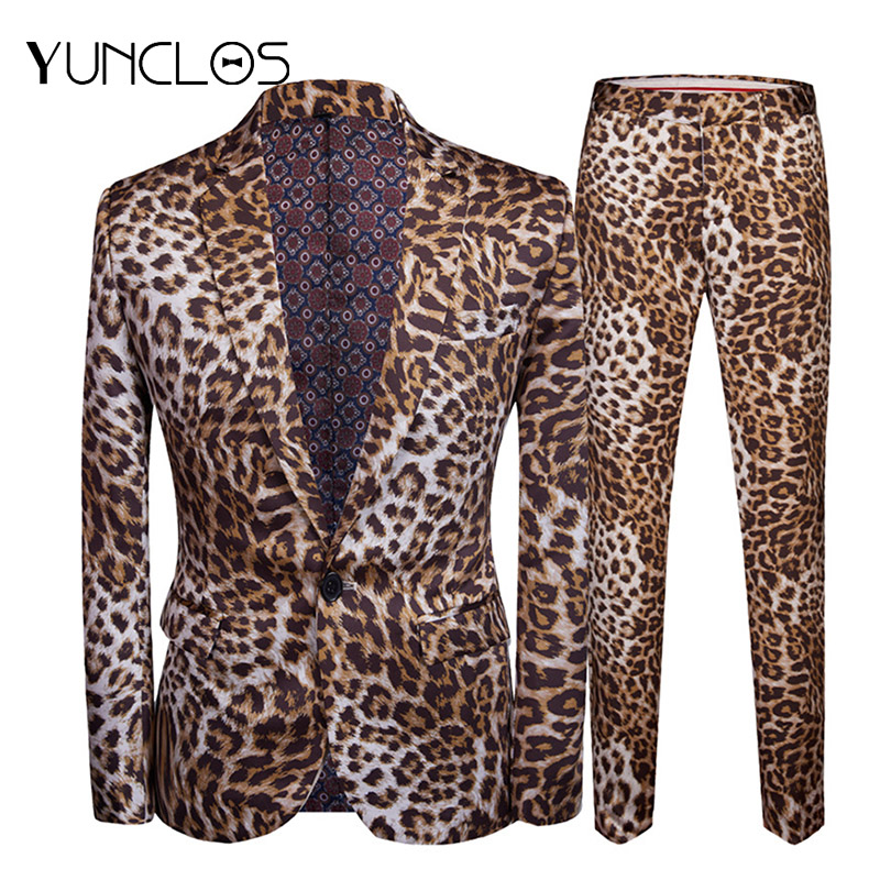 YUNCLOS 2019 Men's Slim Fit Suits 2 Pieces Leopard Print Wedding Party Suits One Button Single Breasted Men Suits Formal Wears